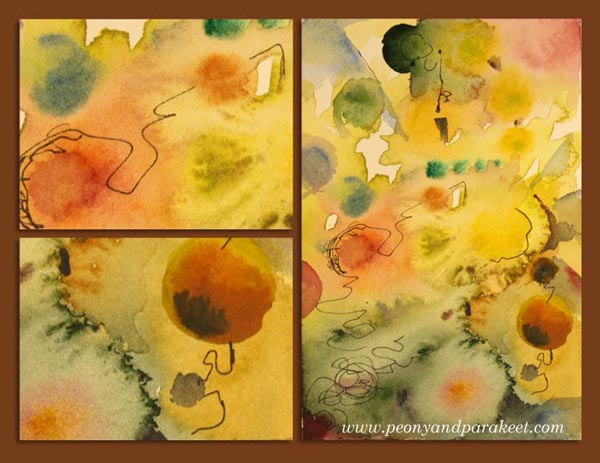 A small watercolor abstract and it's details, by Peony and Parakeet. See the video about creating abstract art!