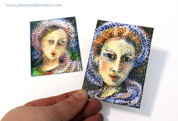 ATCs that are like pointillistic paintings but made using colored pencils and felt-tipped pens. See the step-by-step instructions! By Peony and Parakeet.