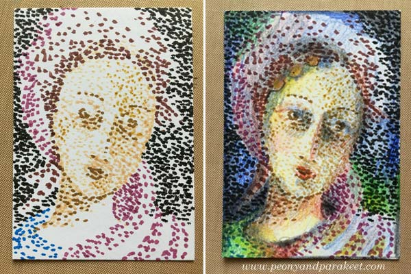 Pointillism in an artist trading card. See the step by step instructions. By Peony and Parakeet.
