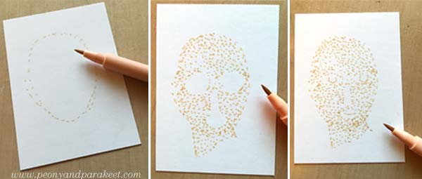 Pointillism, step by step. Step 1 by Peony and Parakeet.
