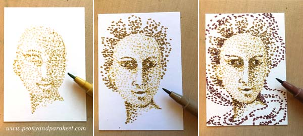 Pointillism, step by step. Step 1, under-dotting. By Peony and Parakeet.