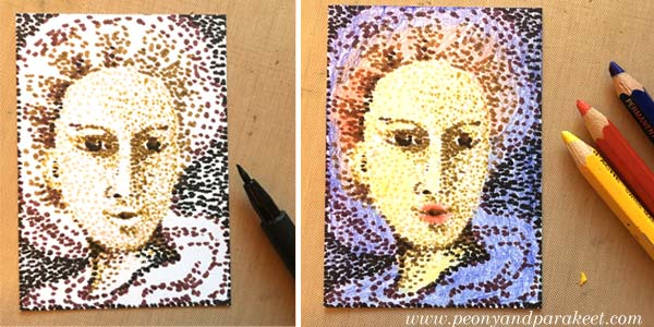 Pointillism, step by step. Step 2 by Peony and Parakeet.