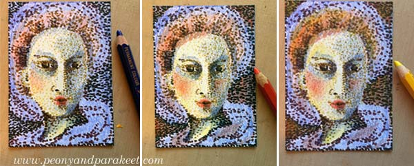Pointillism, step by step. Step 3 by Peony and Parakeet.