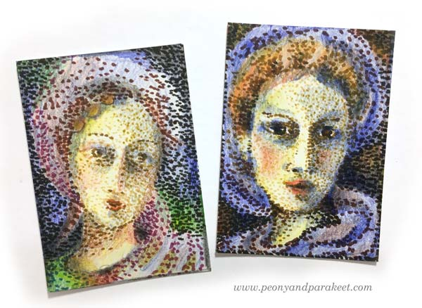 Pointillism-themed artist trading cards. See the step-by-step instructions. By Peony and Parakeet.