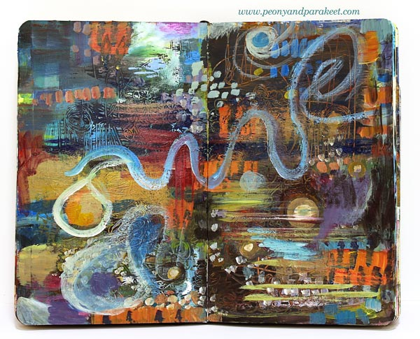 Abstract art journal spread by Peony and Parakeet.
