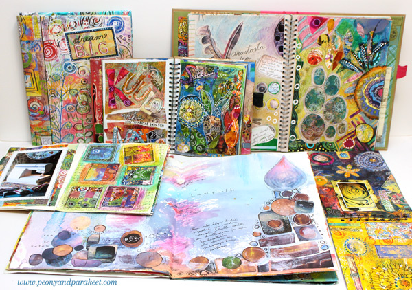 Paivi's art journals. She loves art journaling.