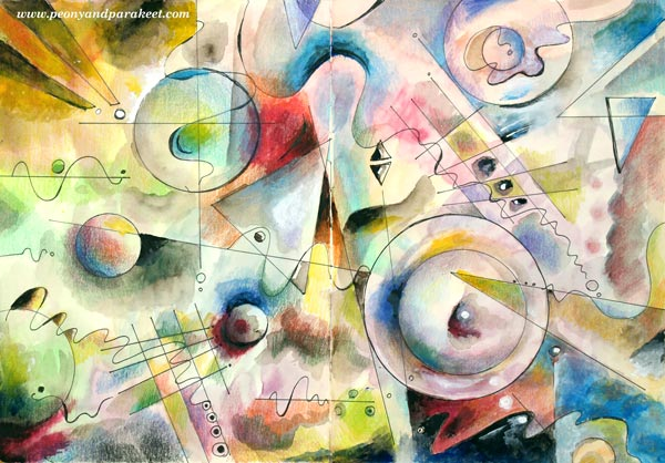 Romantic Geometry, an art journaling mini-course by Peony and Parakeet, teaching the basics of abstract art.