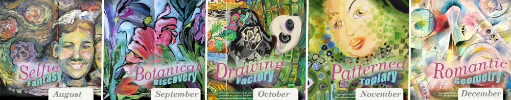 Imagine Monthly Fall 2016, 5 monthly art journaling mini-courses by Peony and Parakeet