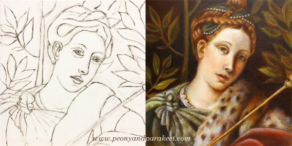 A sketch and the finished painting using old masters techniques. By Paivi Eerola from Peony and Parakeet.