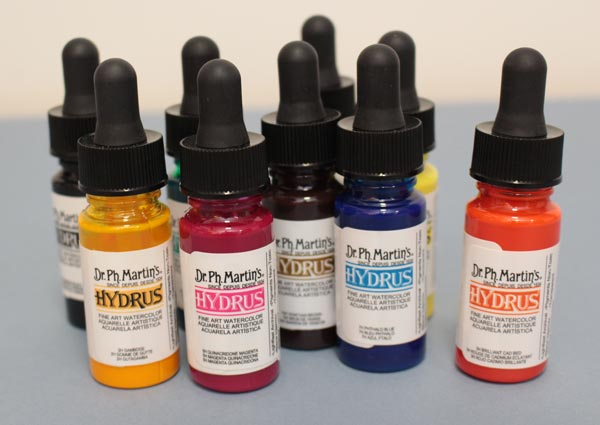 Art supplies. Liquid watercolor bottles.