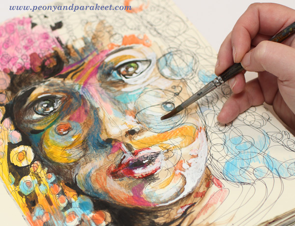 Using watercolor pencils by Peony and Parakeet. See her class Inspirational Drawing 2.0.
