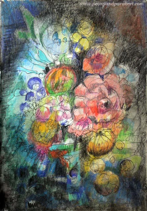 Intuitive mixed media drawing inspired by old still life paintings. By Paivi Eerola from Peony and Parakeet.