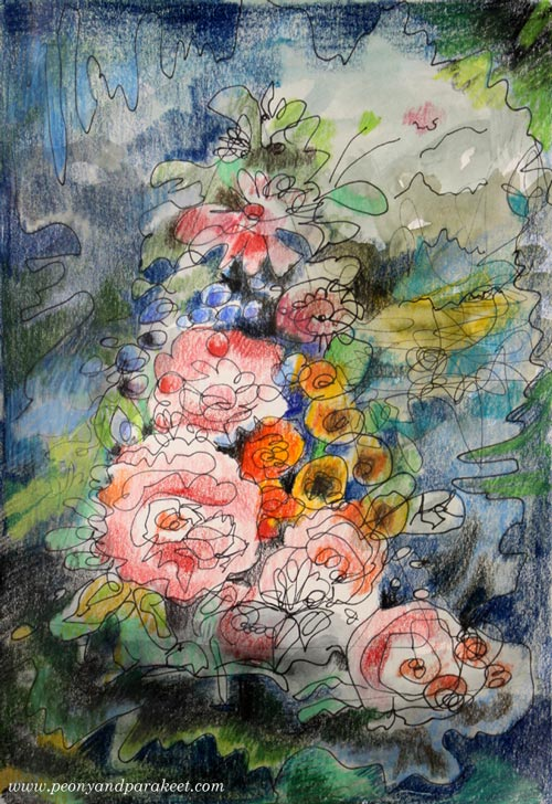 Intuitive mixed media drawing inspired by old still life paintings. See step by step instructions for making this! By Paivi Eerola from Peony and Parakeet.
