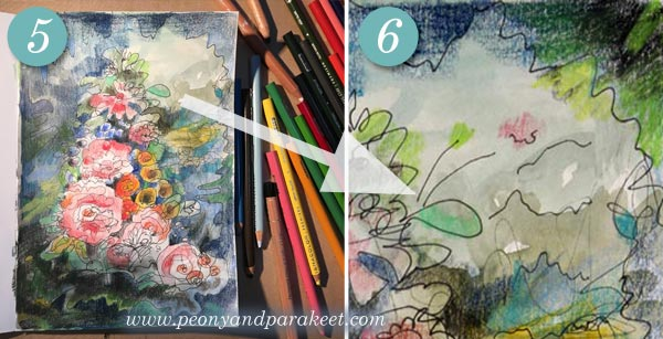 A tutorial for an intuitive mixed media drawing inspired by old still life paintings. By Paivi Eerola from Peony and Parakeet.