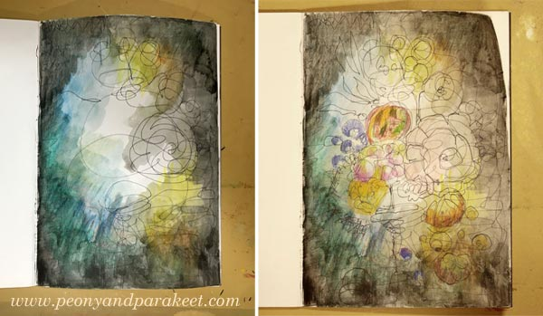 Making of an intuitive mixed media drawing inspired by old still life paintings. By Paivi Eerola from Peony and Parakeet.