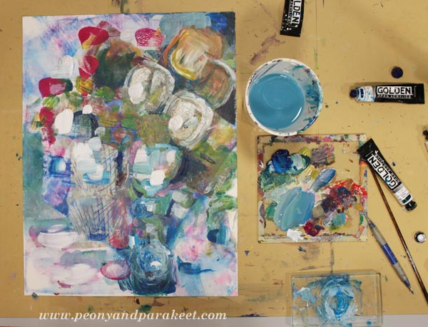 Intuitive still life painting using both Gelli plate and brushes. By Paivi Eerola from Peony and Parakeet.