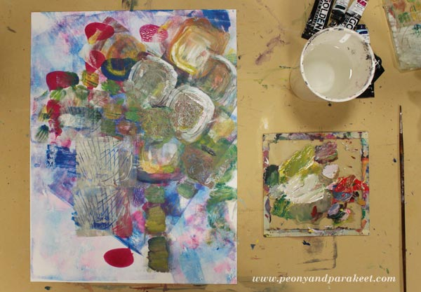 Intuitive still life painting in progress. By Paivi Eerola from Peony and Parakeet.