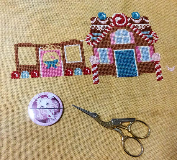 Christmas at Gingerbread Lane, a cross stitching project in progess