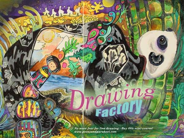 Drawing Factory, a line drawing mini-course that helps you to lose your fear of drawing. By Peony and Parakeet.