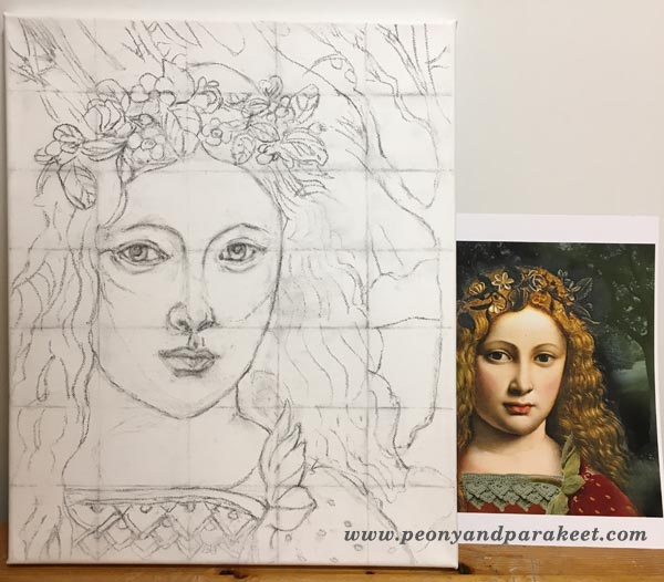 A sketch for a Renessaince style painting, by Peony and Parakeet