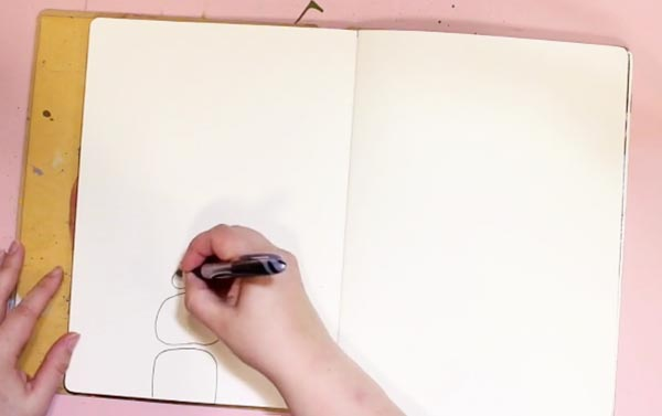 Drawing on a blank page, by Peony and Parakeet.