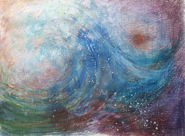 Cheryl Rayner, USA. One of the mixed media seascapes from Peony and Parakeet's class Stormy Scenery.