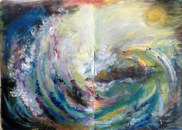 Claudia Watkins, UK. One of the mixed media seascapes from Peony and Parakeet's class Stormy Scenery.