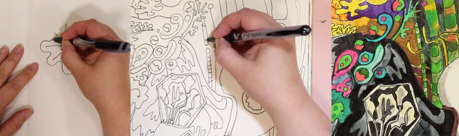 From easy line drawings to imaginative illustrations. See this mini-course by Peony and Parakeet!