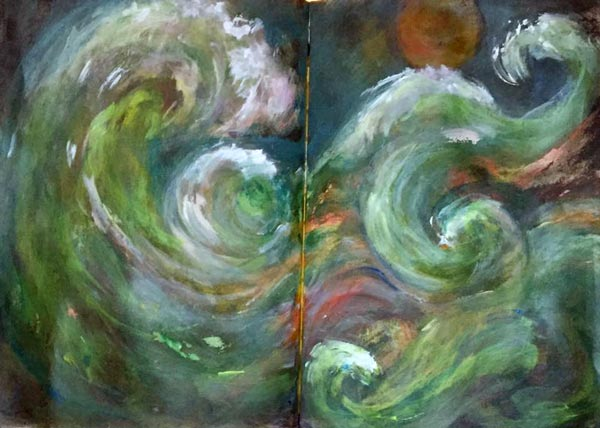 Lorraine Cline, USA. One of the mixed media seascapes from Peony and Parakeet's class Stormy Scenery.