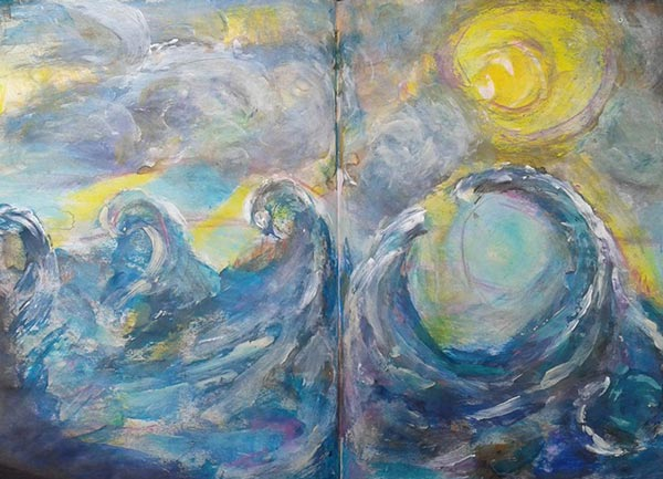 Susan Rajkumar, India. One of the mixed media seascapes from Peony and Parakeet's class Stormy Scenery.