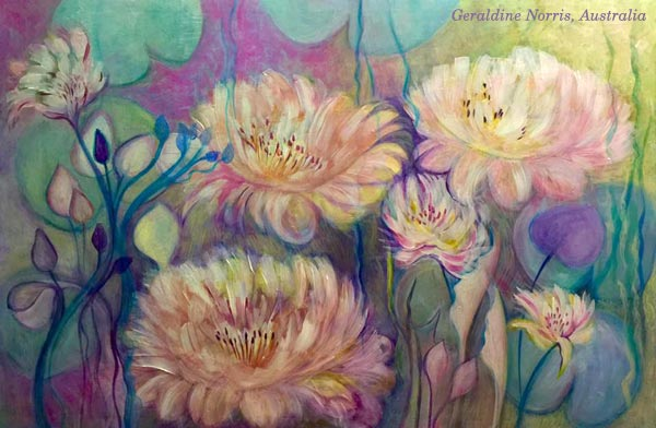 A Monet-inspired painting by Geraldine Norris, Australia, a student of Peony and Parakeet.