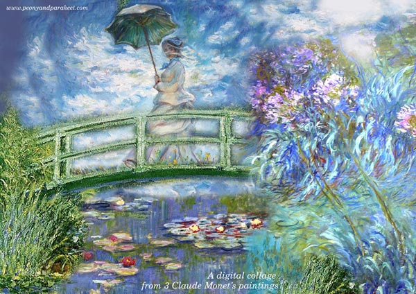 A digital collage combining 3 paintings from Claude Monet. By Peony and Parakeet.