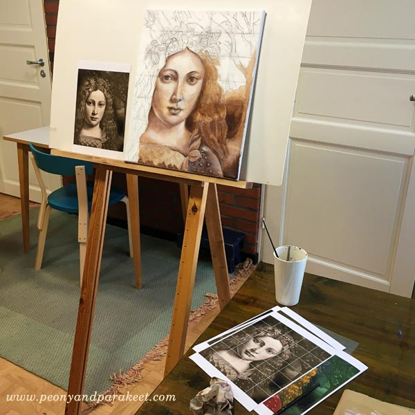 Using a reference image as a model for the painting. By Peony and Parakeet.