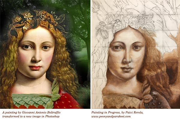 A reference image of Strawberry Madonna and painting in progress. By Peony and Parakeet.