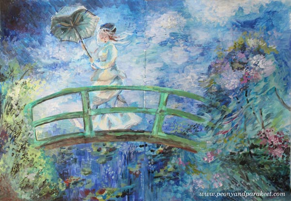 A Monet-inspired art journal page by Peony and Parakeet. See her mini-course Strokes of Energy.
