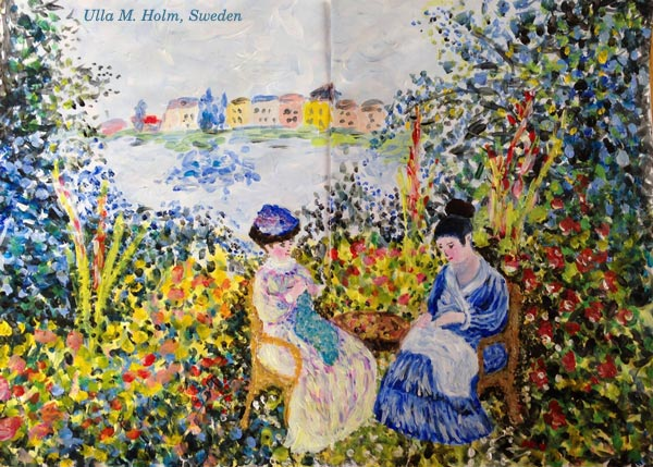 A Monet-inspired art journal spread by Ulla M. Holm, a student of Peony and Parakeet.