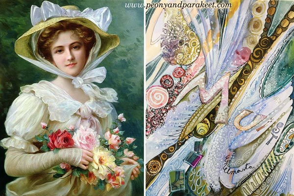 Emile Vernon's painting and Paivi Eerola's abstract interpretation. By Peony and Parakeet.