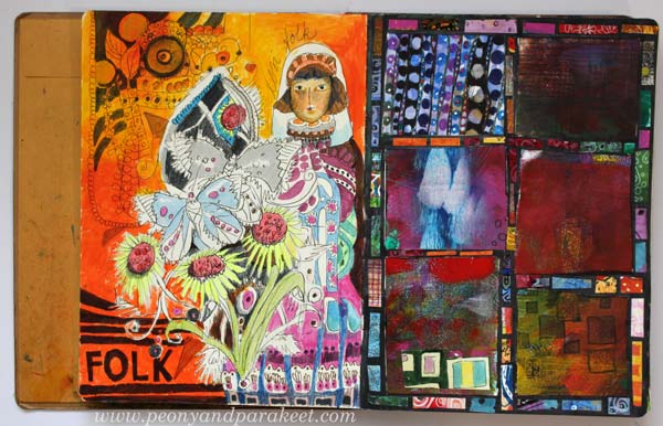 An art journal page spread from Peony and Parakeet. Dylusions Creative Journal. See the flip-through video!