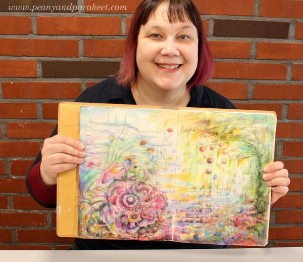 Paivi from Peony and Parakeet and her mixed media art journal page spread.