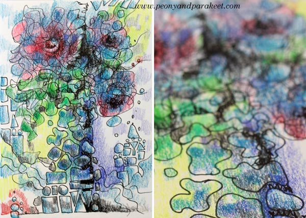 An art journal page exploring freehand drawing. Watch the video to create this! By Peony and Parakeet.