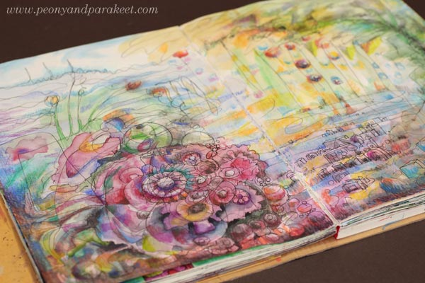 A mixed media art journal page by Peony and Parakeet.