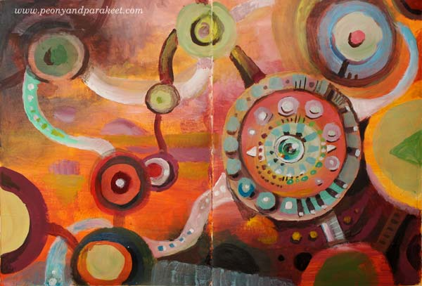 """My Mind's Eye"" - Abstract Color Fun by Peony and Parakeet. See Paivi's class ""Planet Color"""