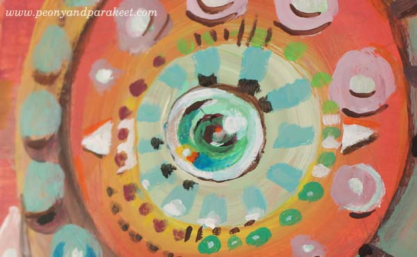 "A detail of ""My Mind's Eye"" by Peony and Parakeet. See Paivi's class Planet Color for painting fun abstracts!"