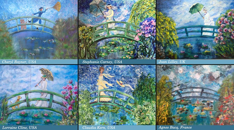 Student Artwork from Claude Monet inspired mini-course Strokes of Energe. The mini-course is created by Peony and Parakeet.