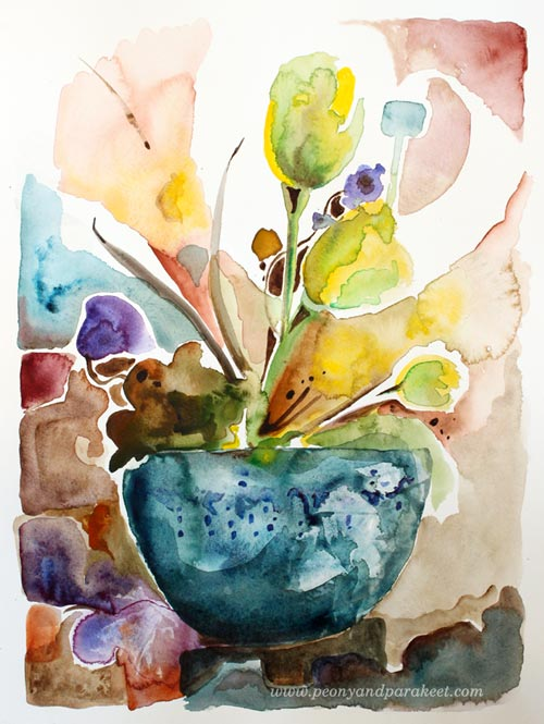 Easter Still-Life, a watercolor painting by Paivi Eerola from Peony and Parakeet. Watch the video about making this painting!