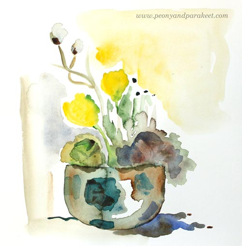 Easter Still Life in Watercolor by Paivi Eerola from Peony and Parakeet. See her blog post for painting easter still lifes!