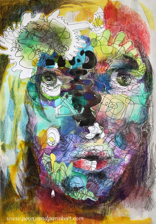 Self-Portrait in Mixed Media, by Paivi Eerola from Peony and Parakeet. See her illustrated tips about removing stiffness when drawing faces!