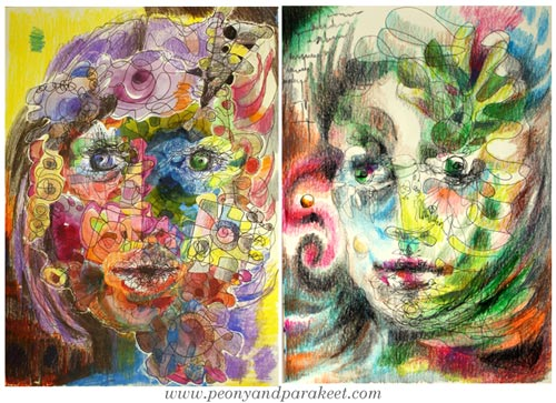 Portraits by Peony and Parakeet. See Paivi Eerola's tips about how to remove stiffness when drawing faces and when creating faces in mixed media! She also has a class called Inspirational Drawing 2.0 where you will learn to make these!