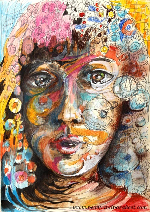 Mixed media portrait by Paivi Eerola from Peony and Parakeet. See her tips about removing stiffness when drawing faces!