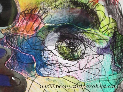A detail of a mixed media portrait by Peony and Parakeet. See Paivi Eerola's tips about how to remove stiffness when creating mixed media faces!